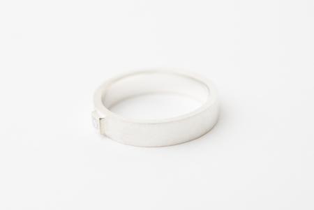 Zilveren verlovingsring met vierkante diamant